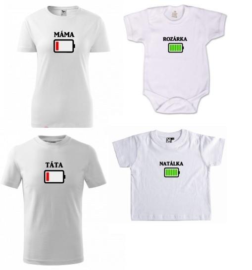Dětské rodinné tričko s potiskem - obrázek baterie se jménem na přání b397b3b9c8